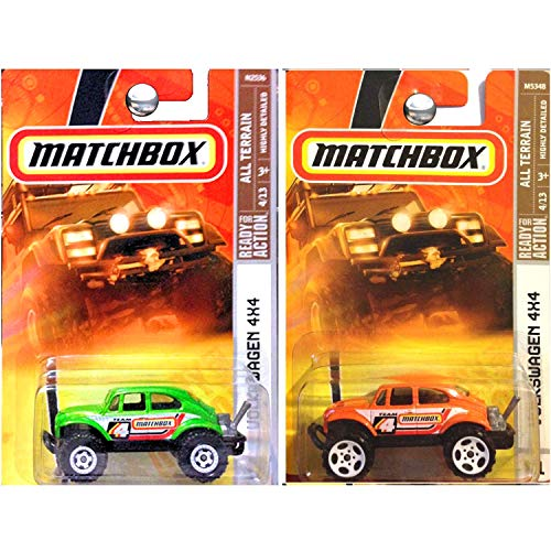 Matchbox All Terrain Volkswagen VW 4x4 Offroad Beetle Baja Bug in Orange and Green Set of 2 (Volkswagen Baja Bug)