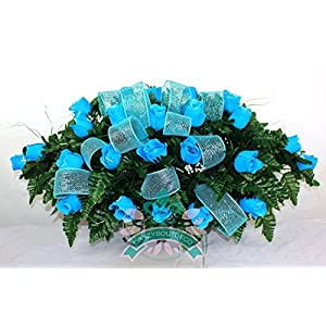 XL Turquoise Roses Silk Flower Cemetery Tombstone Saddle w Deco Mesh Ribbon 26