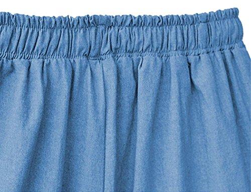 Pantalones De Sólido Color Bastante Cordón Dunkelblau Alta con Tiempo Pantalon Pantalones Hippie Pantalones Women Joven Anchas Vaqueros Cintura Verano Libre Baggy Grande Anchos Talla Mujer dfxARd
