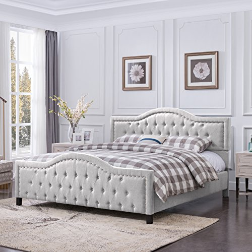 - Christopher Knight Home 305779 Mason Fully-Upholstered Traditional King-Sized Bed Frame, Light Gray, Dark Brown