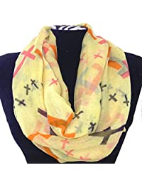 Western Peak Women's Multicolor Cross Pattern Infinity Scarf