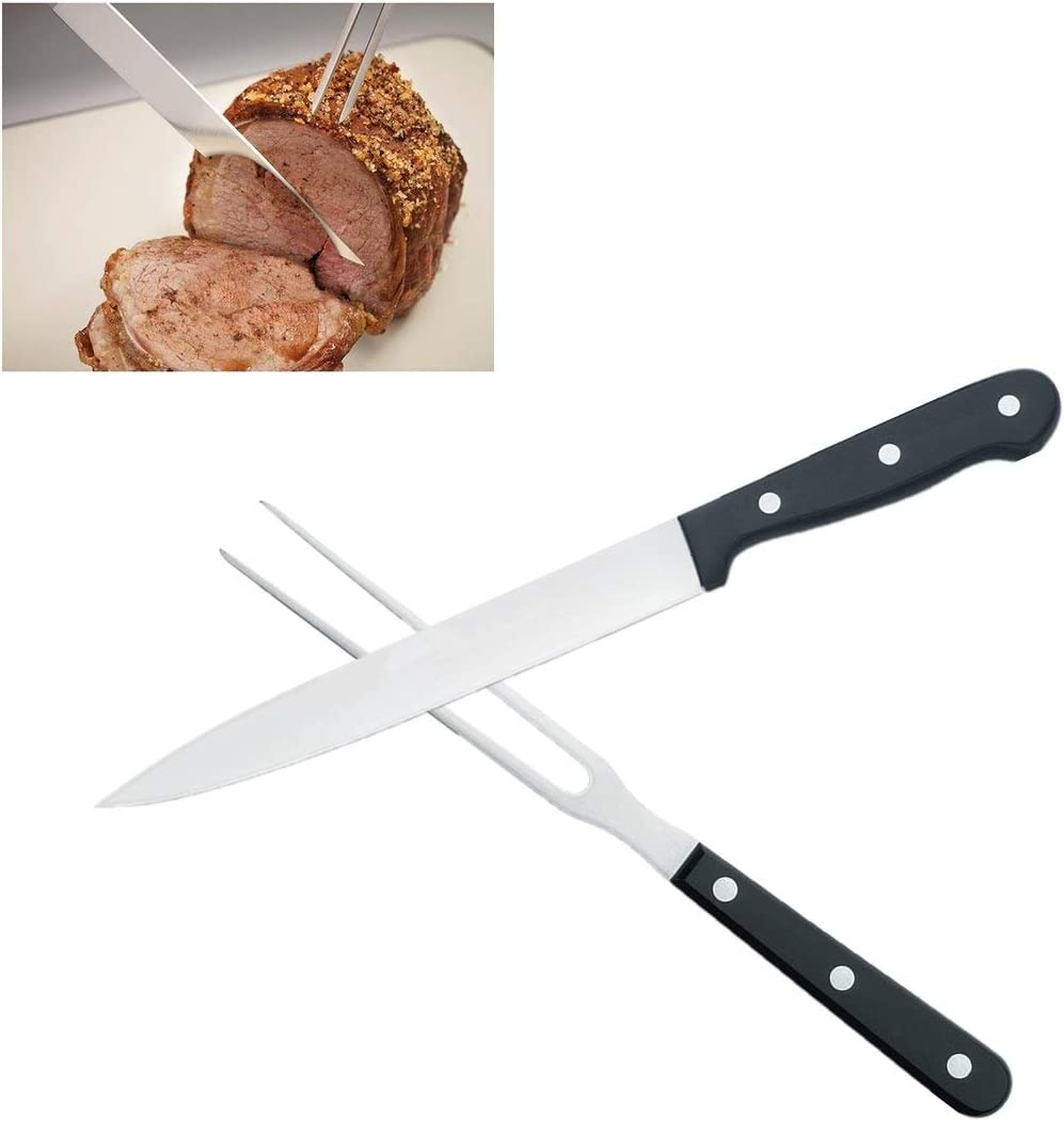 Carving Knife Set for Meat Turkey, Set of 2 Stainless Steel Carving Fork Guard and Slicer Home Gourmet BBQ Tools Cutlery Knives for Brisket Meat Roast Ham