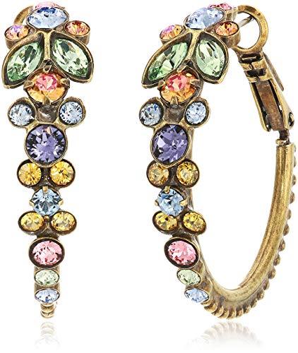 (Sorrelli Women's Crystal Floral Hoop Earring, Multi, 1)