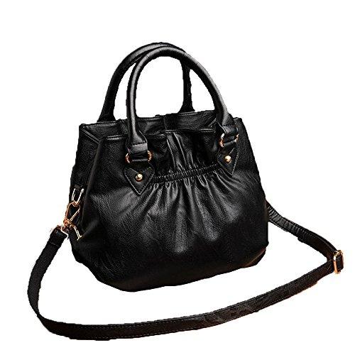 ZM- Bolsos De Mano 2018 Four Seasons Nuevo Bolso De Cuero Suave Bolsa Lady Bag Europa Y Estados Unidos Bolso De Hombro Grande De Múltiples Capas Moda Negro