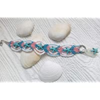 Micro macrame starfish bracelet with sea glass