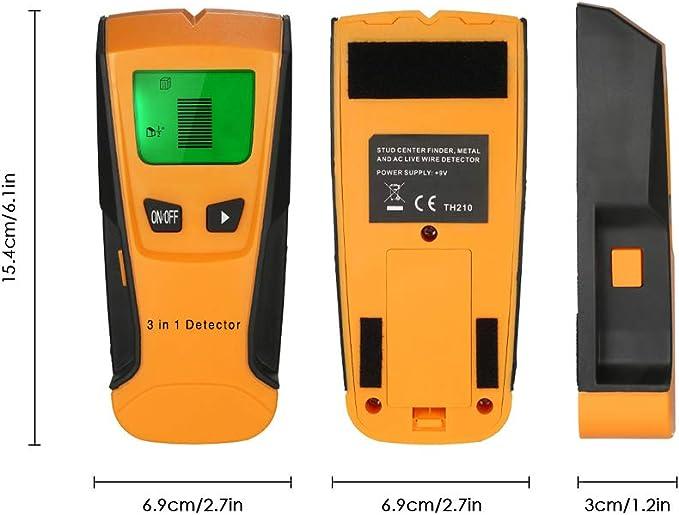 Vislone Detector de pared multifunci/ón 5 en 1 con cable de CA y pantalla LCD digital