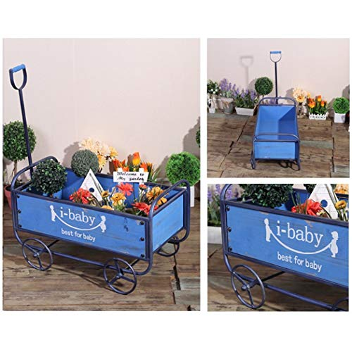 YONGYONG Float Flower Stand American Retro Wind Wooden cart Home Garden Storage handling Tool Decorative Ornaments 52.53629.5cm (Color : Blue, Size : 52.53629.5cm) by YONGYONG (Image #2)