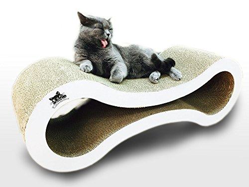 Catscratcherz Katzen-Kratzer Liege | 82cm große Liege und Spielzeug | Besser als ein Kratzbrett, Baum oder Turm | Hilft Kratzschäden auf Möbeln & Sofas zu vermindern.