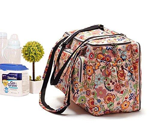 LCY Floral Prints cambiador de bebé bolsa de pañales de gran capacidad marrón marrón rosa