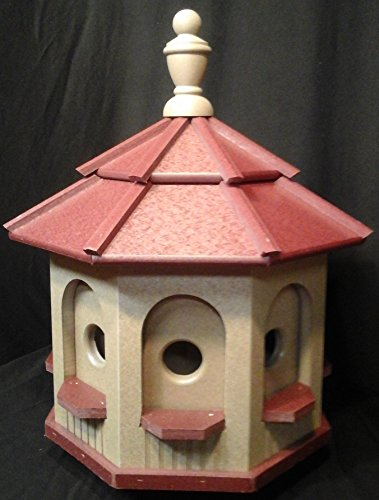 Birdhouse Red Roof - Medium Vinyl Birdhouse Amish Homemade Handmade Handcrafted Clay & Red Roof