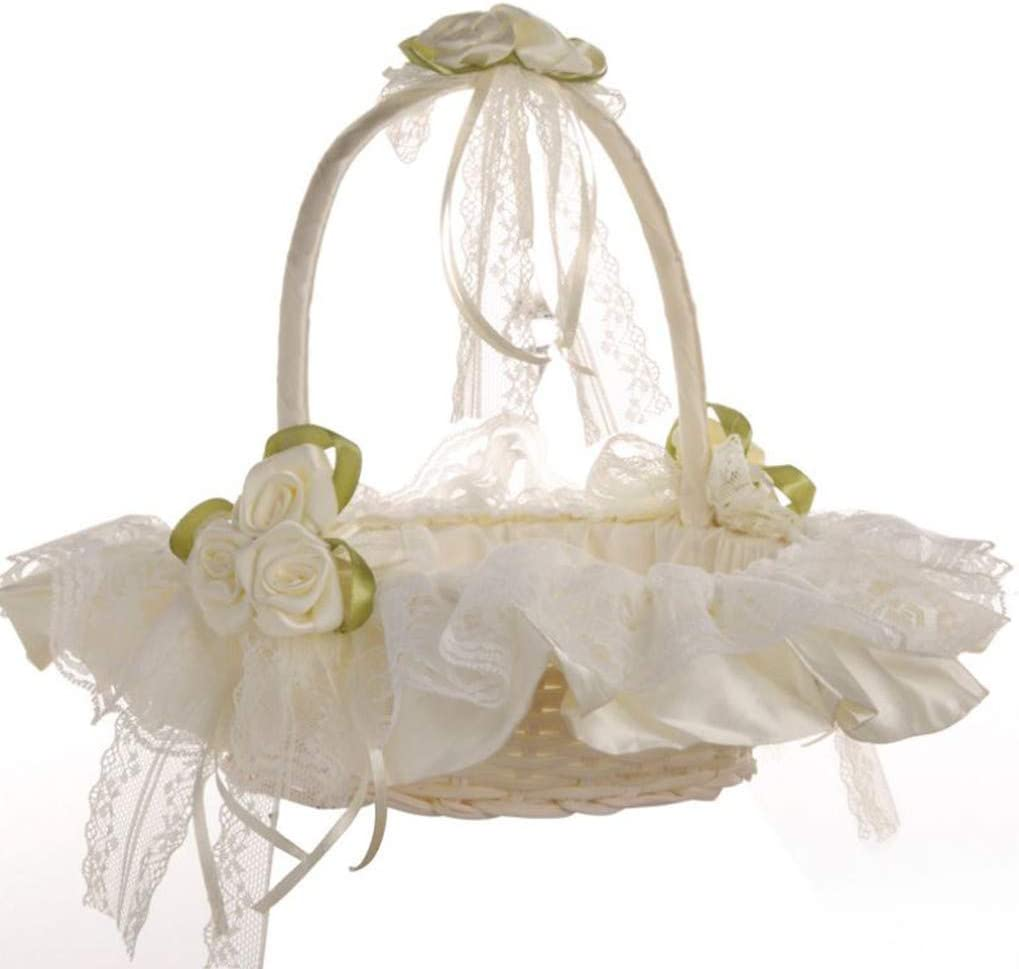 Ivory White Romantic Wedding Satin Flower Girl Basket Wedding Ceremony Basket