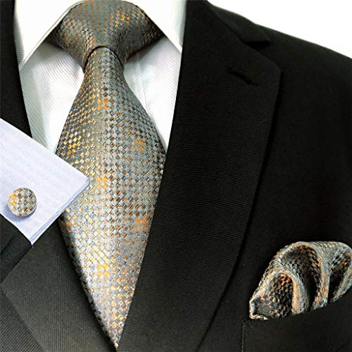 - S&W SHLAX&WING Ties for Men Necktie Set with Pocket Square Cufflinks Hanky XL 23