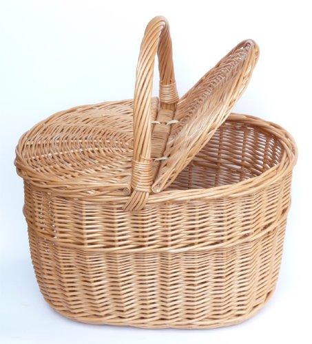 Tigana Picknickkorb Einkaufskrbr Pilzkorb mit zwei Deckel aus Weide 40 x 30 cm 1F