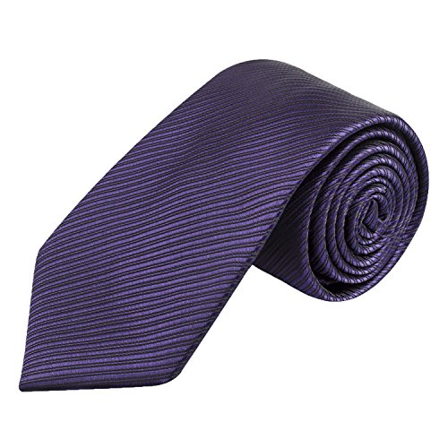 Woven Solid Color (Handmade 8cm Neckties for Men Solid Color Woven Tie by Alizeal, Dark Purple)