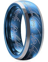 Magic 7 mm de carburo de tungsteno boda banda azul zafiro Lord de anillo Comfort Fit altamente pulido