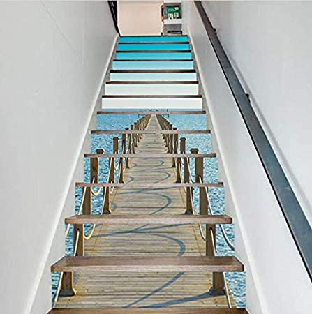 FLFK 3D Ensoleillement Oc/éan Plage Autocollants descalier auto-adh/ésifs Escalier Riser Stickers D/écor Escalier Murale 39.3x 7 x 13 Pcs