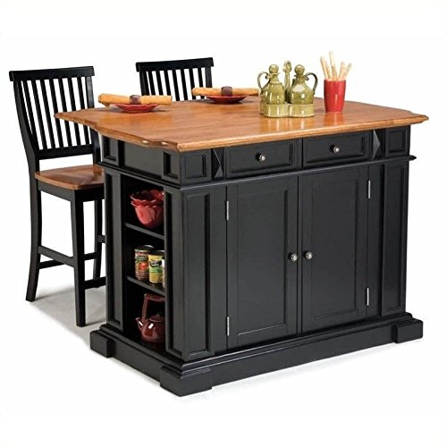 Home Styles 5008-948 Monarch Kitchen Island with 2 Stool, Black and Distressed Oak Finish