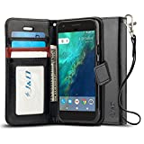 J&D Case Compatible for Google Pixel XL Case, [Wallet Stand] [Slim Fit] Heavy Duty Protective Shock Resistant Flip Cover Wallet Case for Google Pixel XL Wallet Case - Black