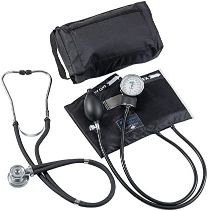 MABIS MatchMates Aneroid Sphygmomanometer and Sprague Rappaport Stethoscope Combination Manual Blood Pressure Kit with Calibrated Nylon Cuff, Professional Quality, Carrying Case, Black