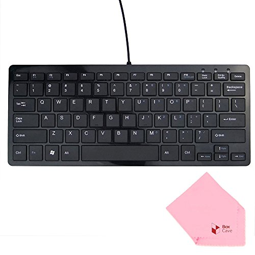 Laptop Netbook Notebook Mini (Boxcave 78 Key Wired USB Mini Slim Keyboard for PC, Notebook, Laptop, Netbook, Windows 8 7 XP Vista (Black,w/cable))