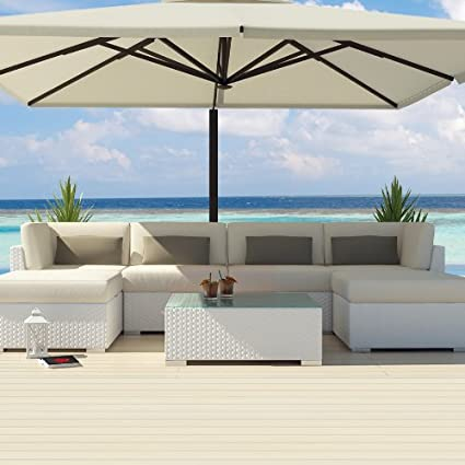 Uduka Outdoor Sectional Patio Furniture White Wicker Sofa Set Diani Off  White All Weather Couch - Amazon.com: Uduka Outdoor Sectional Patio Furniture White Wicker