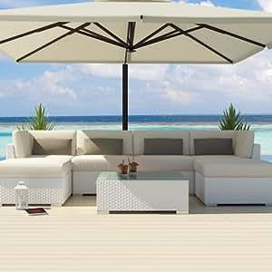 Uduka outdoor sectional patio furniture white for Sofa exterior amazon