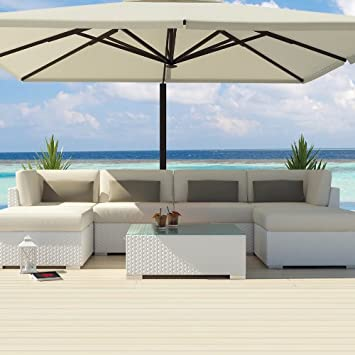 uduka outdoor sectional patio furniture white wicker sofa set diani off white all weather couch - Sectional Patio Furniture