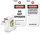 Danger Do Not Operate Tag with Fiber Patch , Polyolefin Tag, 250 Tags / Box, 3'' x 6.25''