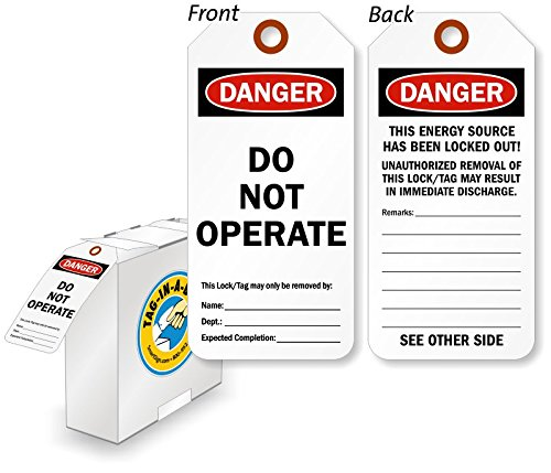 Danger Do Not Operate Tag with Fiber Patch , Polyolefin Tag, 250 Tags / Box, 3'' x 6.25'' by LockoutTag