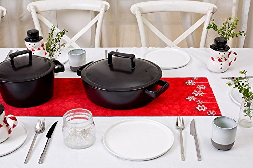 Reversible Stripe Scarf (Hotrun 2-in-1 Decorative Table Runner and Protective Trivet Your Elegant Table Runner and Heat-Resistant Trivet All in One (Red))