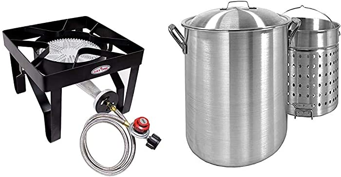 GasOne Single Burner Outdoor Stove Propane Gas Cooker & Steel Braided Hose Perfect for Home Brewing, Turkey Fry, Maple Syrup Prep & Bayou Classic 8000 80-Quart Aluminum Stockpot with Boil Basket