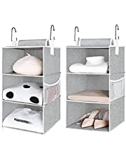"""StorageWorks 2PCS 3-Shelf Hanging Closet Organizers, Collapsible Closet Hanging Shelves for Clothes and Shoes, Polyester Canvas, Gray, 12""""x12""""x21"""""""