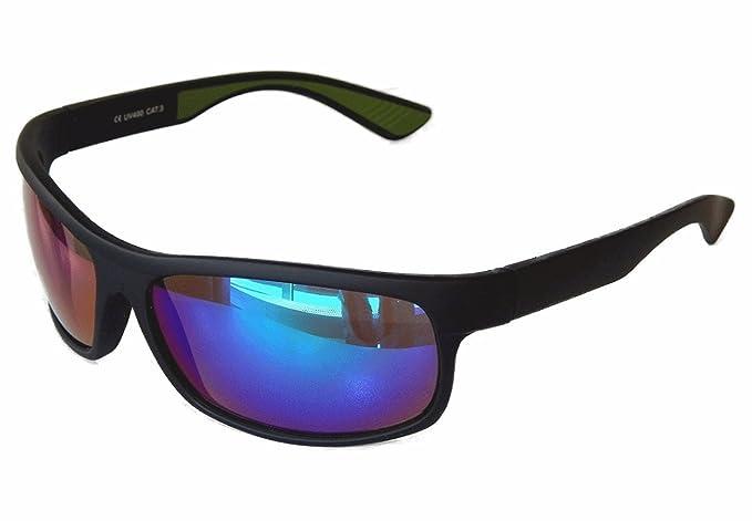 Sportbrille Sonnenbrille Motorradbrille Radbrille Sport Gangster Style (schwarz blau grün verspiegelt) iYxyCgTAVH