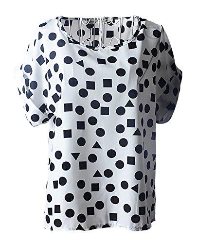 ezShe - Camisas - Manga corta - para mujer White Geometry