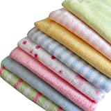 Cren 8 Pcs Soft Baby Cotton Bath Towels Infants Face Washcloth Handkerchiefs, 22.9×22.9cm/9.01×9.01'