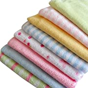 Cren 8 Pcs Soft Baby Cotton Bath Towels Infants Face Washcloth Handkerchiefs, 22.9×22.9cm/9.01×9.01