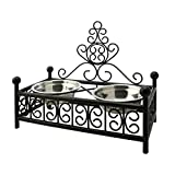 Corner Biz Pet - Double Stainless Steel Dog Pet Bowls with Wrought iron Dog Bowl Stand Deluxe