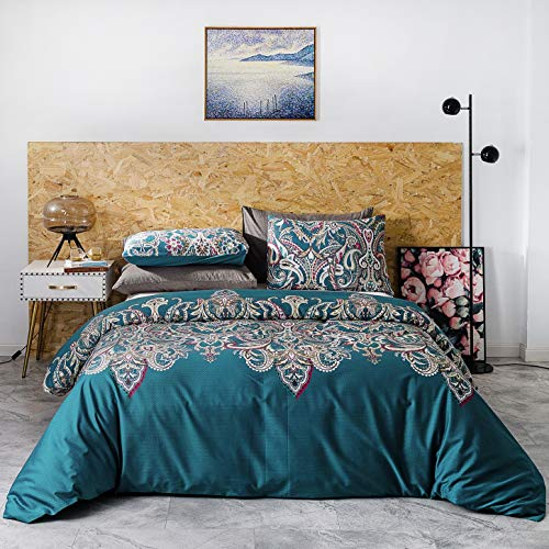 YuHeGuoJi 3 Pieces Duvet Cover Set 100% Egyptian Cotton Teal King Size Vintage Style Bedding Set with Zipper Ties 1 Bohemian Paisley Print Duvet Cover 2 Pillowcases Hotel Quality Silky Soft Durable (Vintage Bedding Sets Style)