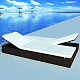 Double Sun Lounger with Cushion 76''x47'' Poly Rattan Brown double chaise lounge Material: PE rattan + powder-coated steel frame
