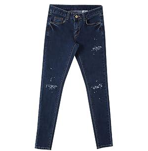 Women's Part Painting Slim Fit Spandex Deepblue Skinny Jeans / M Size
