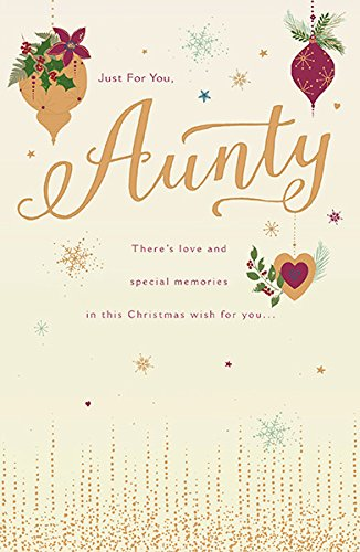 aunty gold luxury christmas and new year greeting card