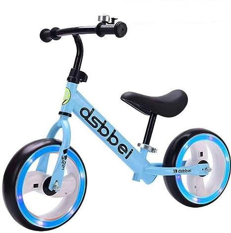 ZXDBK Bicicleta de Equilibrio, 2 3 4 5 6 años niños niñas Bici Sin Pedales Niño Aleación de Aluminio Carreras Versátiles, Asiento Ajustable Llanta Luminosa,Blue: Amazon.es: Deportes y aire libre