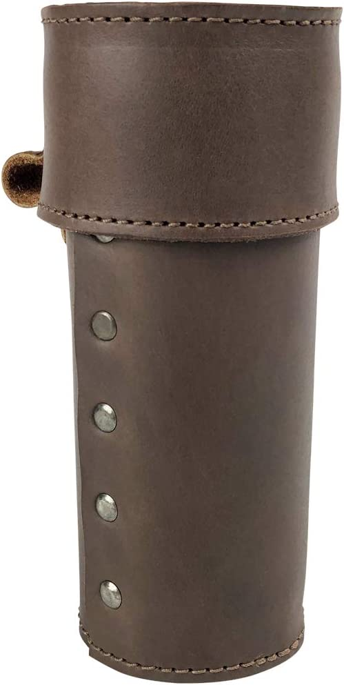 Hide & Drink, Cylinder Sunglass Pen Case Handmade from Full Grain Leather - Cylindrical Rustic Storage Case - Durable Multi Use Pencil Holder for Office and School Supply Organization - Bourbon Brown