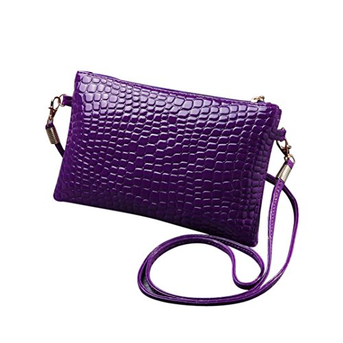 Cuero De Señoras Muium Mujeres Las Bolso Color De Bandolera De Púrpura De Moda Sólido Crossbody Bolso Patrón De Cocodrilo qw41vwOx