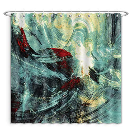 Unique Custom Shower Curtains Abstract Bright Color Motion Composition Modern Futuristic Painting Background With Lighting Polyester Fabric Shower Curtain For Bathroom, 60 x 72 -