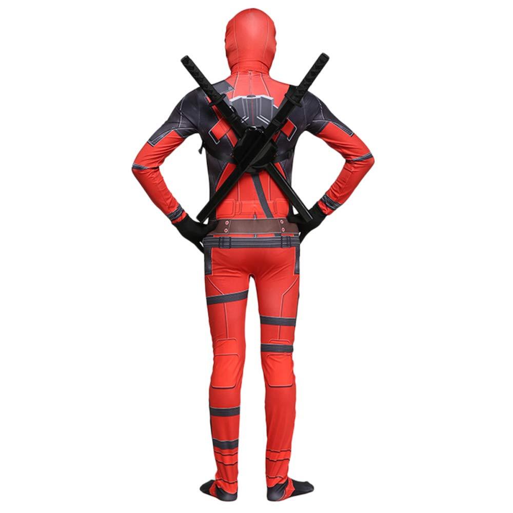 QQWE Marvel Deadpool Disfraz Disfraz Adulto Niños Halloween Cosplay Traje Mono Spandex Monos Cosplay Conjunto Completo De Ropa,A-Children-L