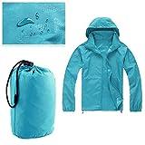 Evaric Men Women Windproof Waterproof Jacket Bicycle Outdoor Sports Rain Coat Outerwear Light BlueXL