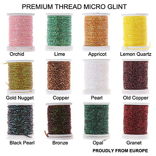 Riverruns Micro Glint Nymph Thread, Holo Flat Tinsel, Fluo Thread Fly Tying Material Proudly from Europe Trigger to The Fish (12 Color/Set Micro Glint Nymph Thread)