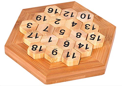 WISDOMTOY Wooden Classic Brain Teaser Digital Platter Puzzle Sum Equal to 38 Math Board Game Educational Toy for Kids and Adults