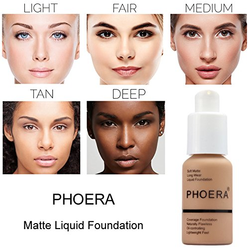 2 Pcs Phoera Liquid Foundation 30ml Natural Moisturizing Highlighting Matte Oil Control Concealer Facial Blemish Concealer Color Changing for Women Girls